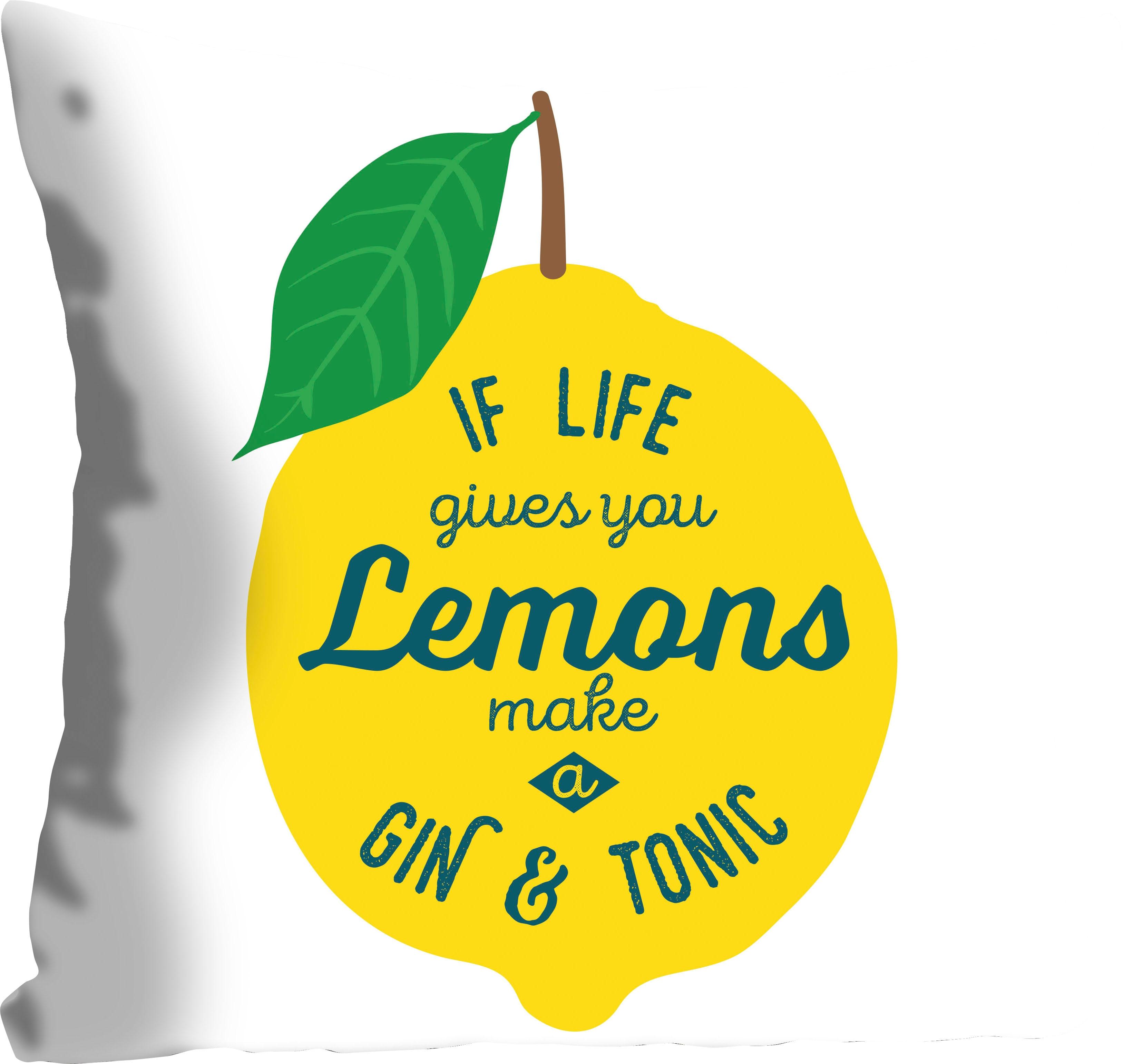 queence Kissenhülle Lemons, (1 St.), mit einer Zitrone gelb Kissenbezüge gemustert Kissen