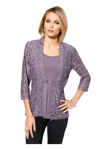 Lady Shirt mit transparenten Ärmeln und Schmucksteinen kaufen