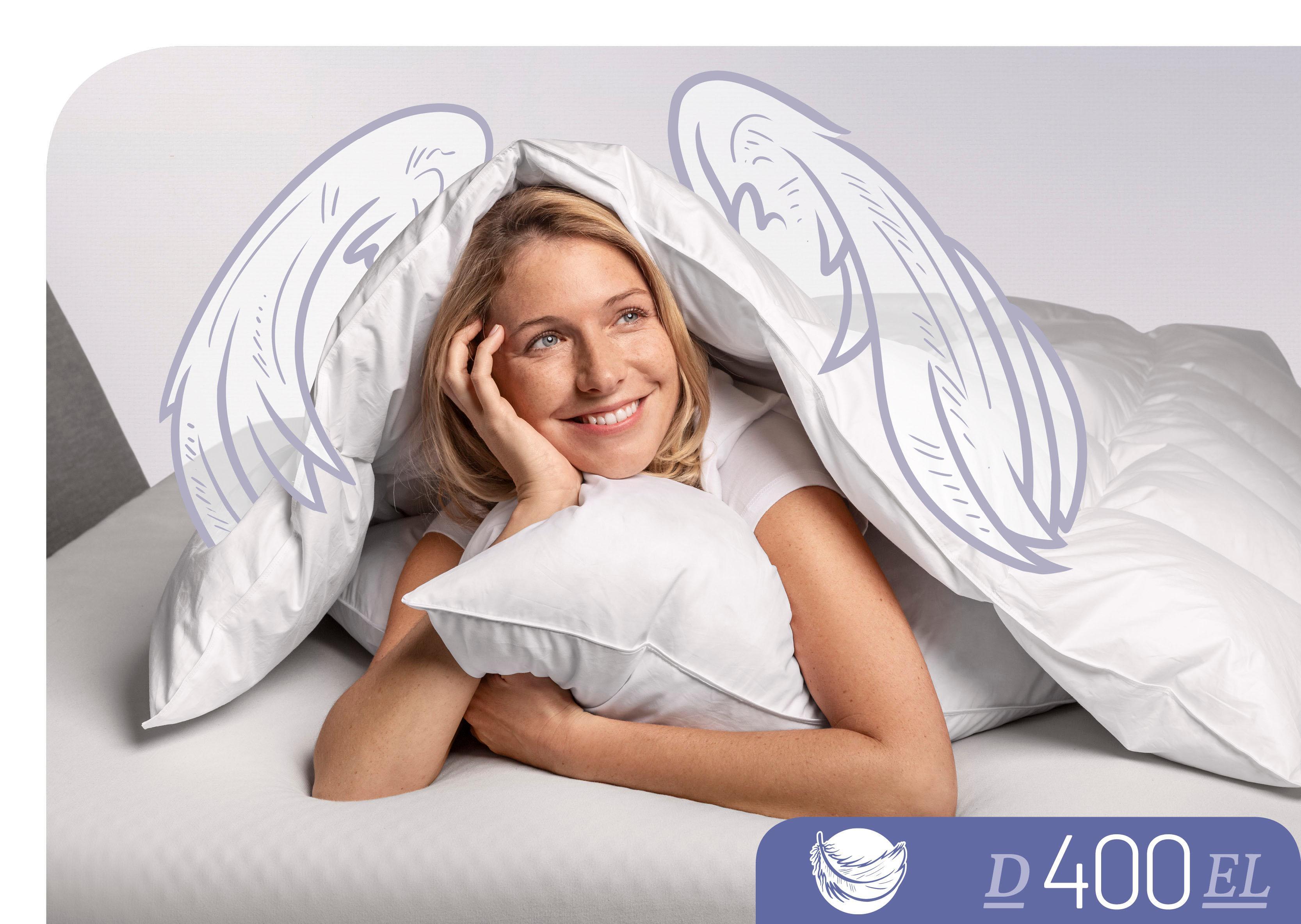 Daunenbettdecke D400 Schlafstil extraleicht Füllung: 90% Daunen 10% Federn Bezug: 100% Baumwolle