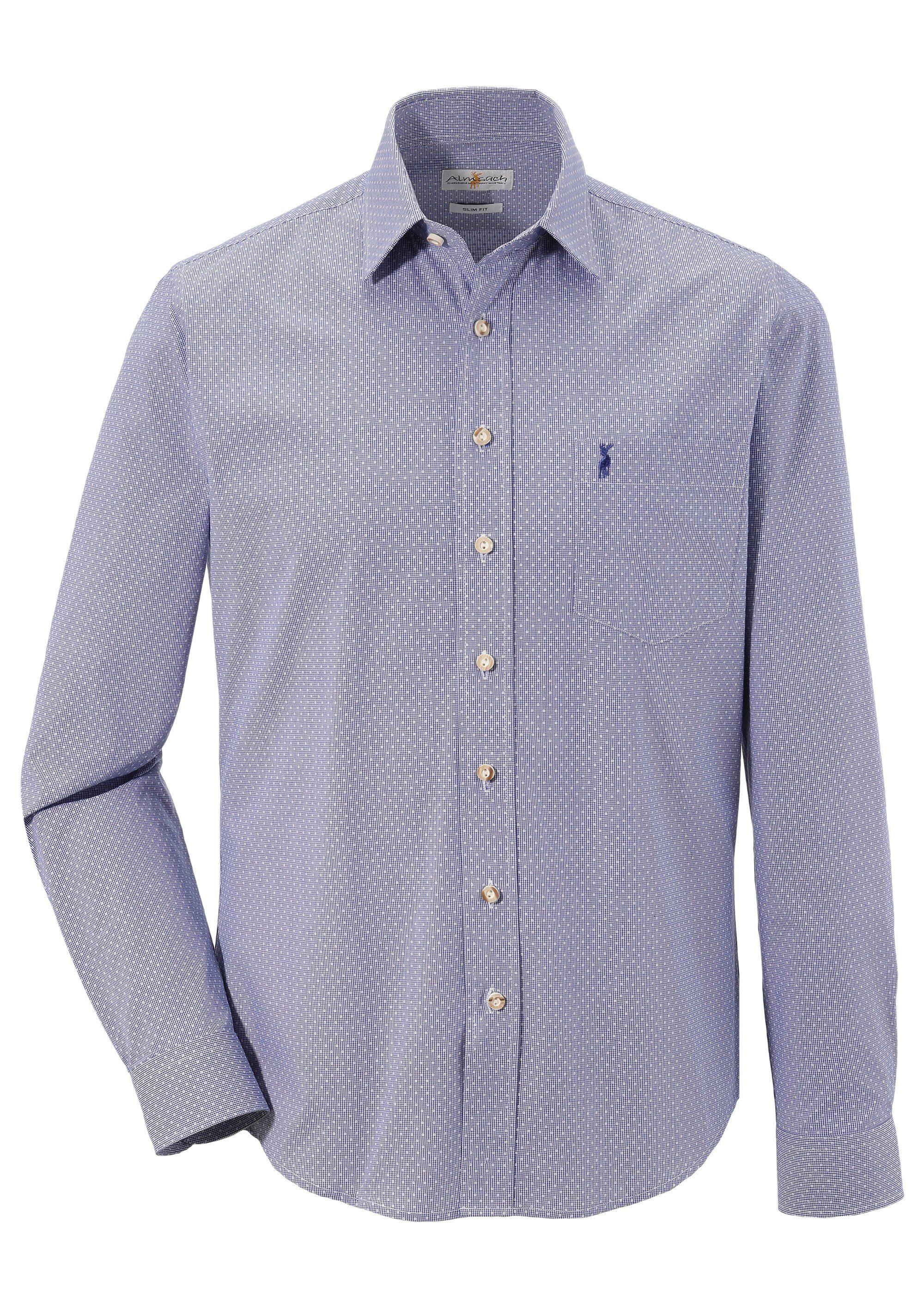 Almsach Trachtenhemd mit dezenter Musterung   Bekleidung > Hemden > Trachtenhemden   Blau   Almsach