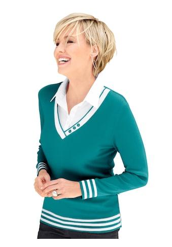 Casual Looks 2 - in - 1 - Pullover mit Zierknöpfen am V - Ausschnitt kaufen