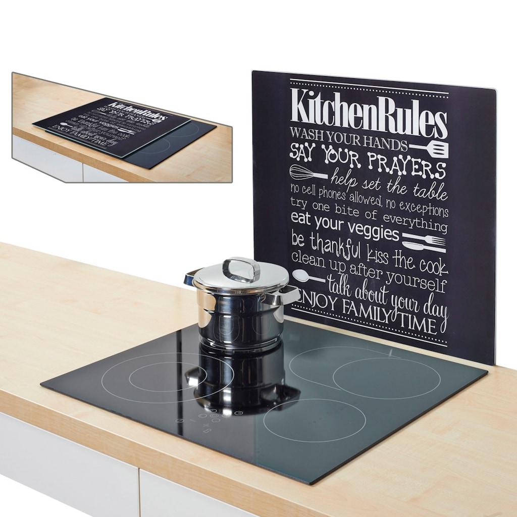 """Zeller Present Herdblende-/Abdeckplatte """"Kitchen Rules"""", ESG-Sicherheitsglas, (1-tlg.)"""