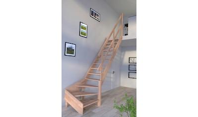 STARWOOD Raumspartreppe »Rhodos«, offene Stufen, 1/4 rechts gewendelt, Holzgeländer rechts kaufen