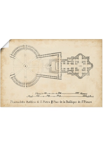 Artland Wandbild »Plan für die St. Peter's Basilika«, Gebäude, (1 St.), in vielen... kaufen