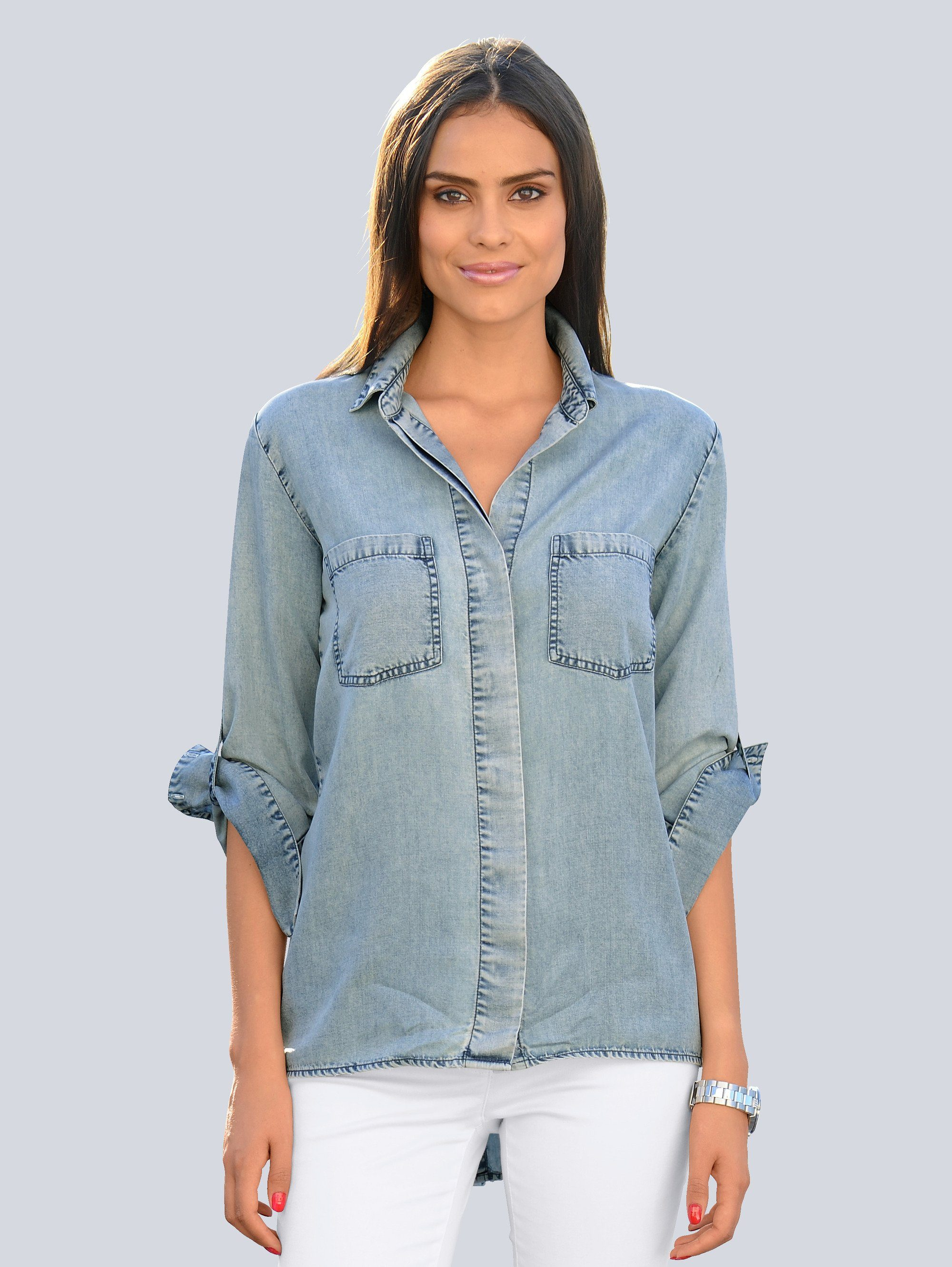 Alba Moda Bluse in Denim-Optik
