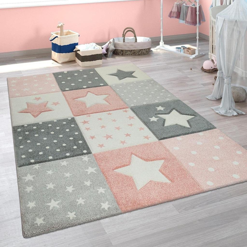 Paco Home Kinderteppich »Cosmo 345«, rund, 18 mm Höhe, 3D-Kinder Design, Stern Motiv in Pastell-Farben, Kinderzimmer