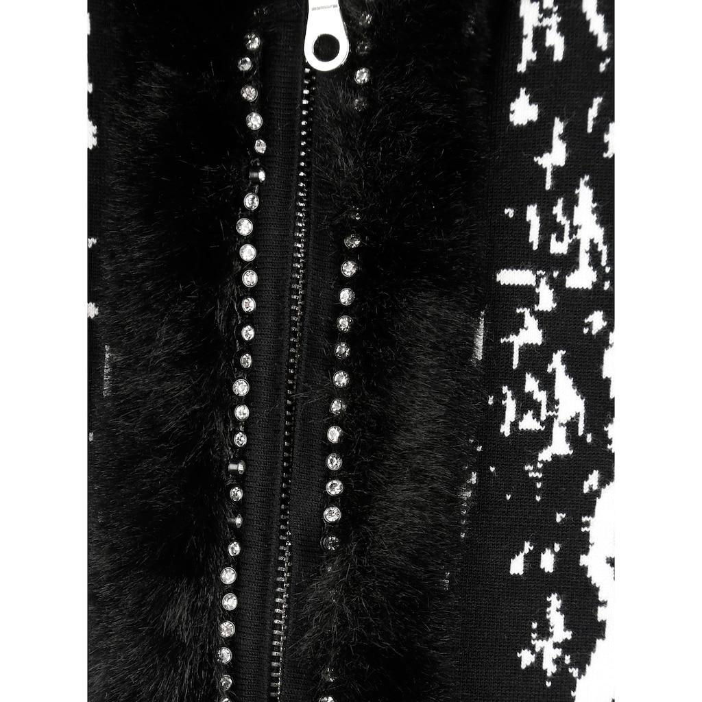 Mona Strickjacke mit Webpelzbesatz