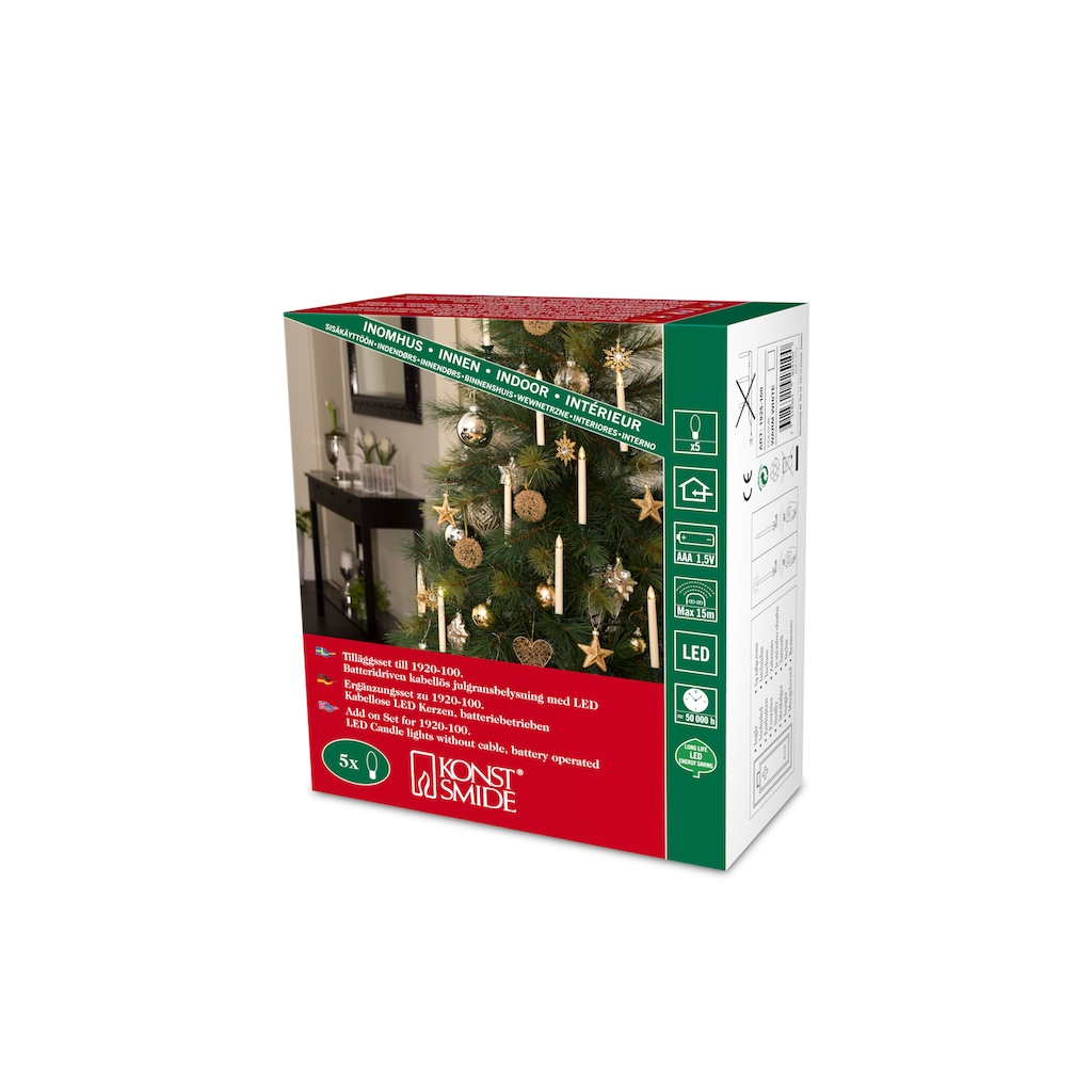 KONSTSMIDE LED Baumbeleuchtung, 5 Baumkerzen, Zusatzset