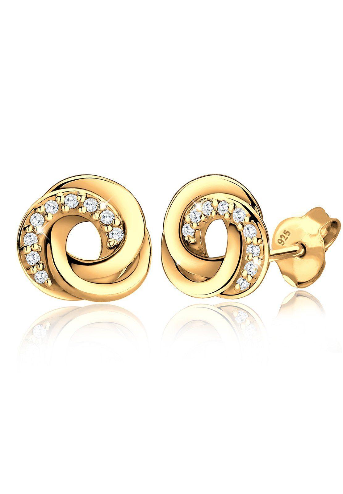 Goldhimmel Ohrringe »Spirale Zirkonia Elegant 925 Silber vergoldet« | Schmuck > Ohrschmuck & Ohrringe > Ohrstecker | Weiß | GOLDHIMMEL