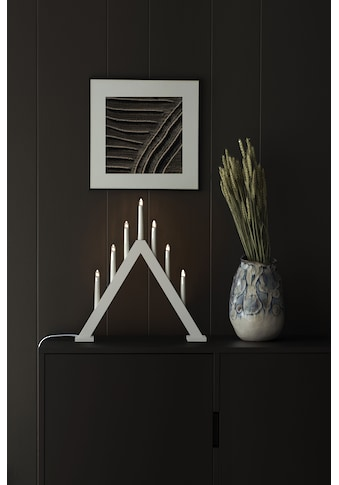 KONSTSMIDE Fensterleuchter, E10, 1 St., Warmweiß, Holzleuchter, mattweiß lackiert, 7... kaufen