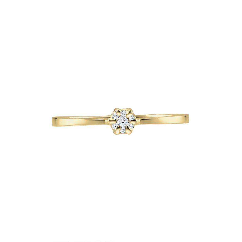 Diamore Verlobungsring »Verlobung Blume Diamant (0.045 ct.) 375 Gelbgold«