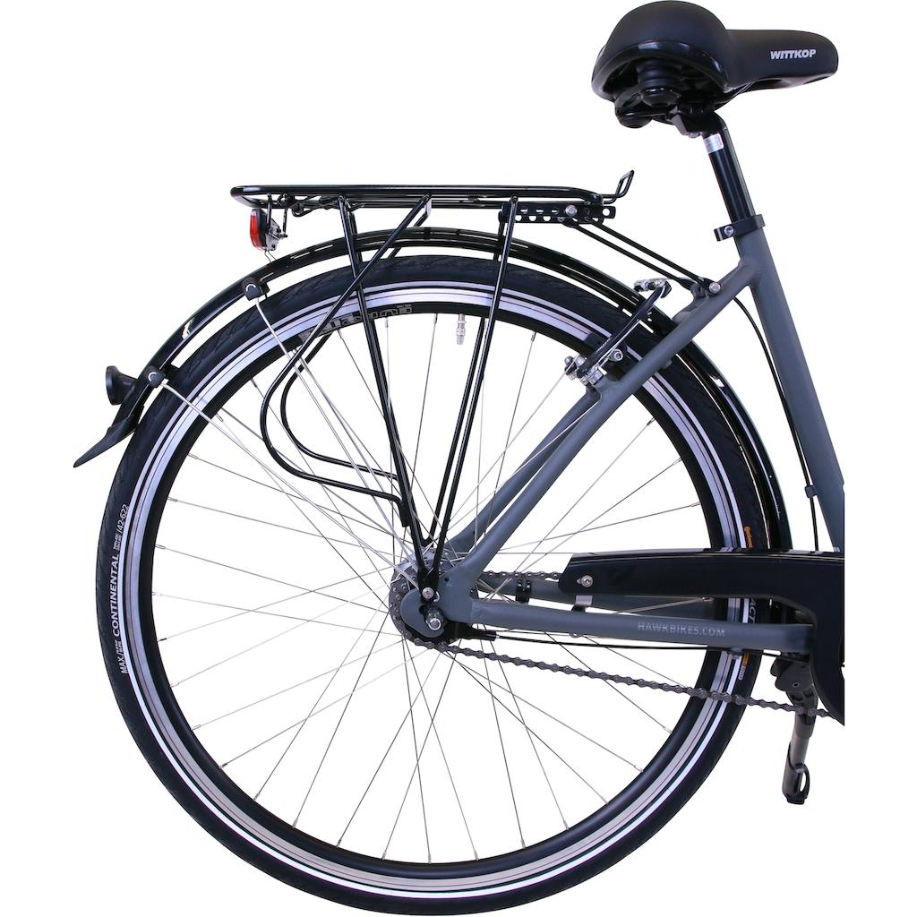 HAWK Bikes Cityrad »HAWK City Wave Deluxe Grey«, 7 Gang, Shimano, Nexus Schaltwerk