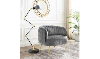 Leonique Sessel »Eveline«, Luxus-Microfaser, Cocktailsessel mit goldenen Füßen kaufen