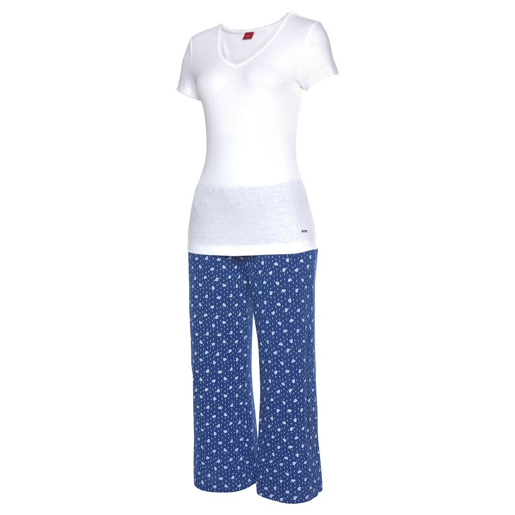 s.Oliver Capri-Pyjama, mit Blümchenhose