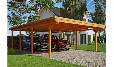 Skanholz Doppelcarport »Emsland«, Leimholz-Nordisches Fichtenholz, 550 cm, hellbraun kaufen
