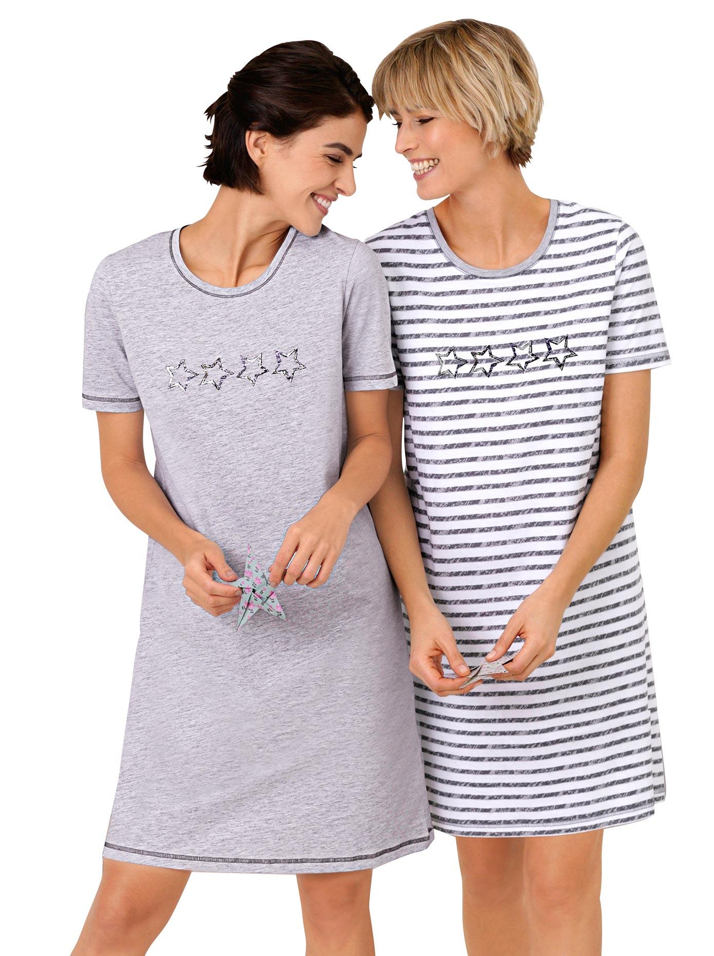 wäschepur Sleepshirts (2 Stck) | Bekleidung > Nachtwäsche > Sleepshirts | Grau | Wäschepur