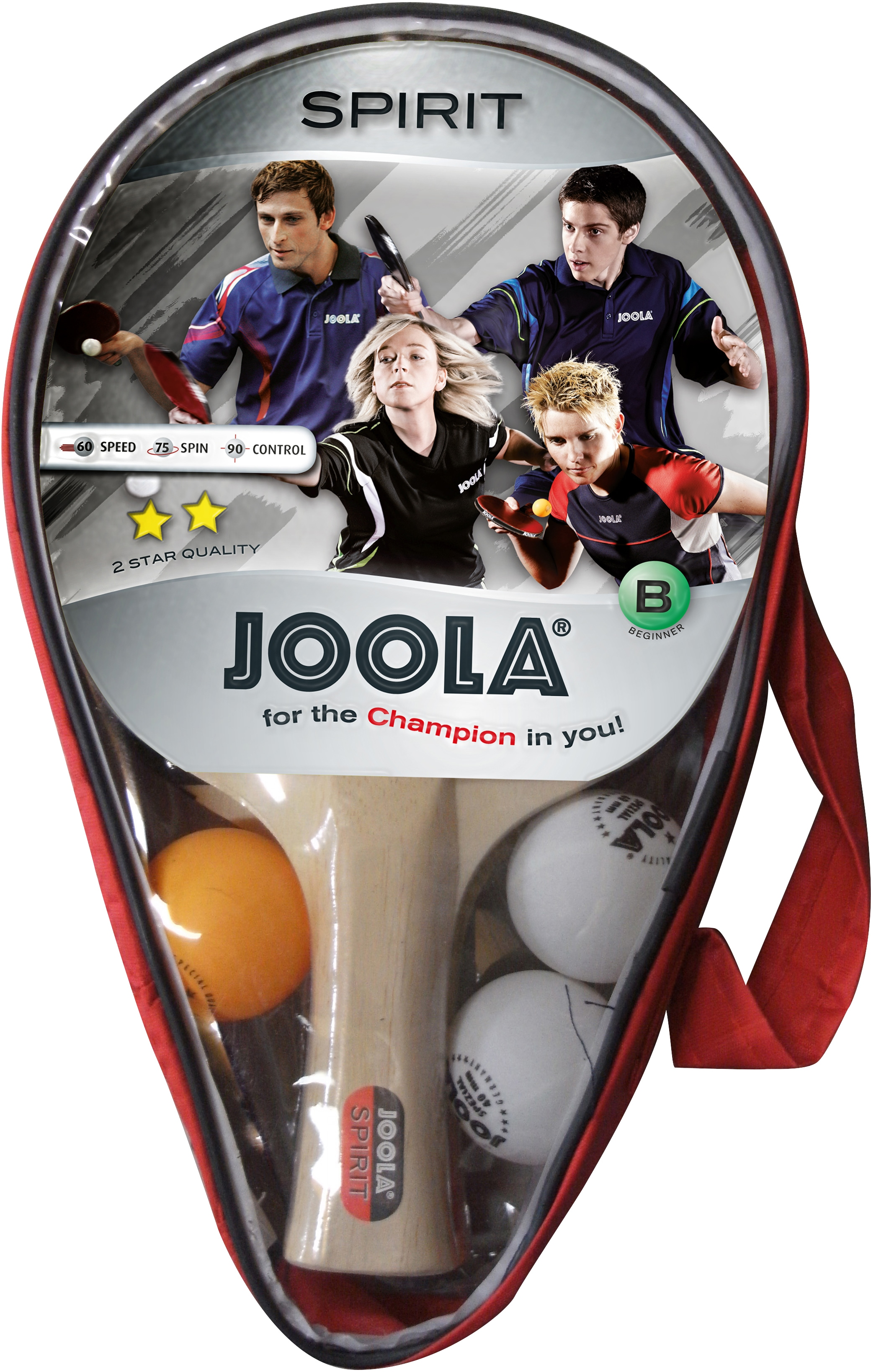 Joola Tischtennisschläger Carat / Spirit, (Set, 6 tlg., mit Bällen-mit Schlägerhülle-mit Tasche) beige Tischtennis-Ausrüstung Tischtennis Sportarten