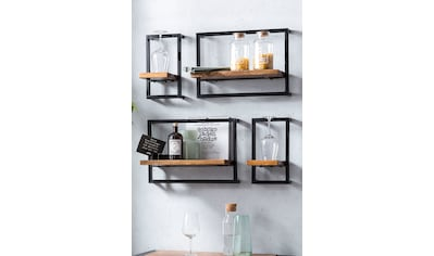 SIT Wandregal »Panama«, (Set, 4 St.), Regalset im Industrial Stil, Mangoholz und Metall kaufen