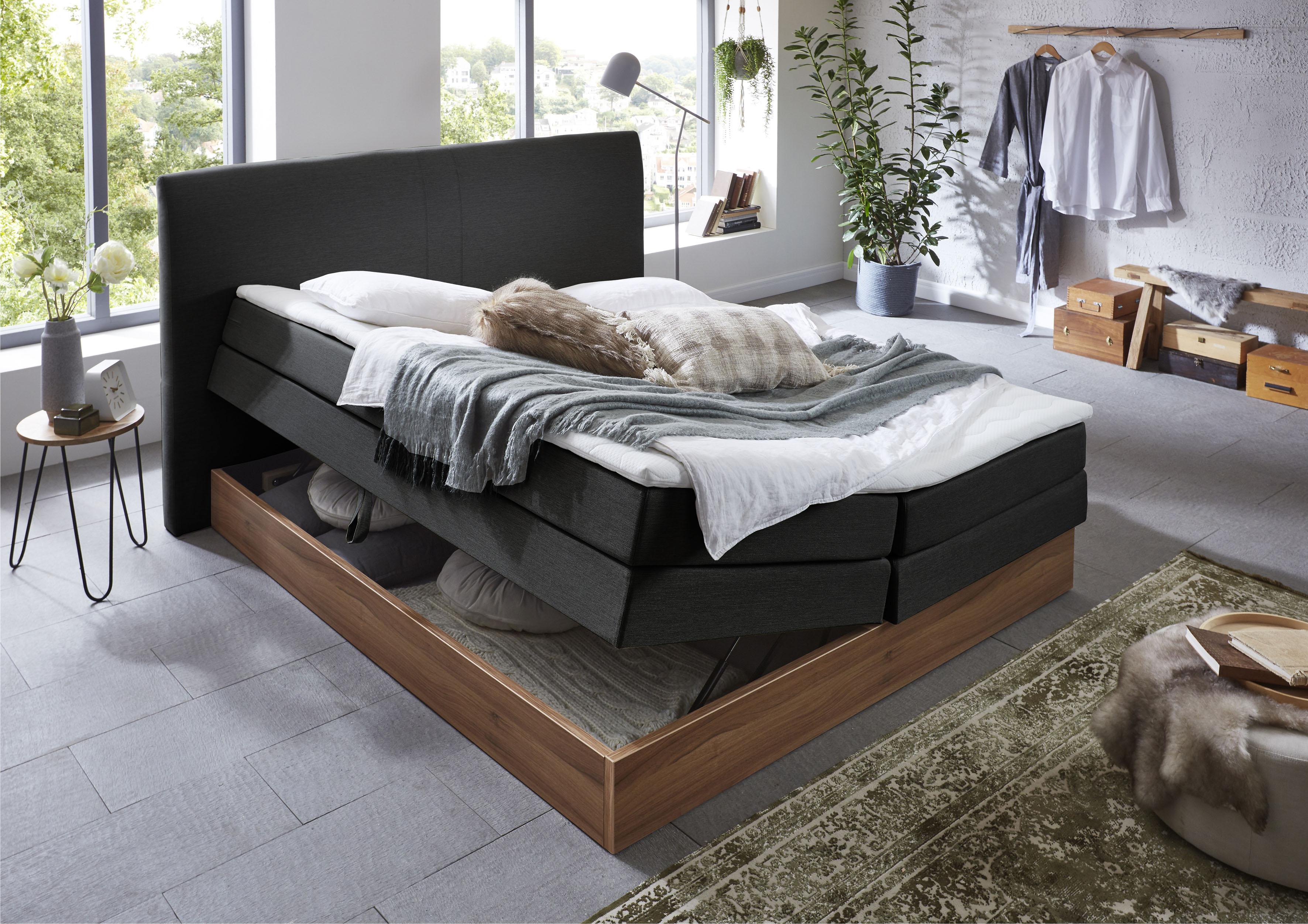Premium collection by Home affaire Boxspringbett Blomen, mit Walnuss-Dekor, günstig online kaufen