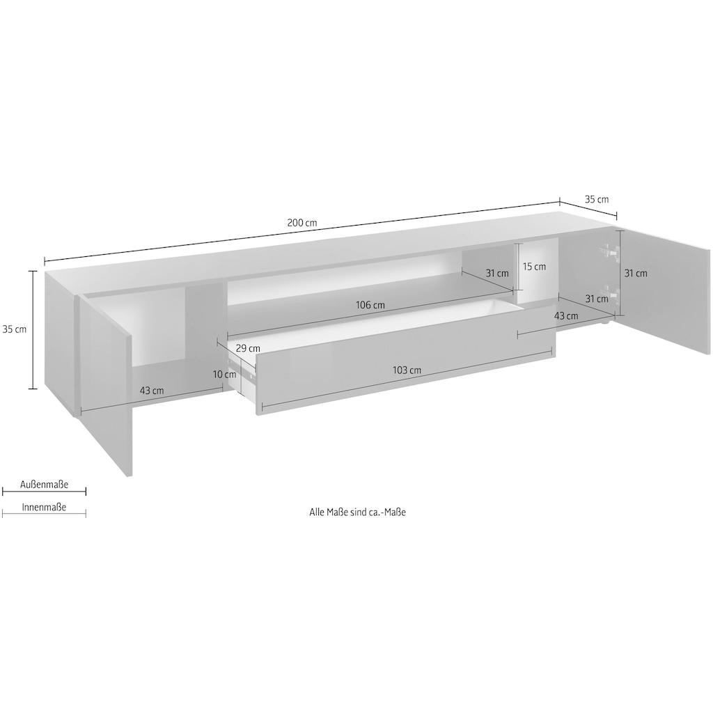 borchardt Möbel Lowboard »Sophia«, Breite 200 cm mit 1 Schubkasten, stehend und hängend
