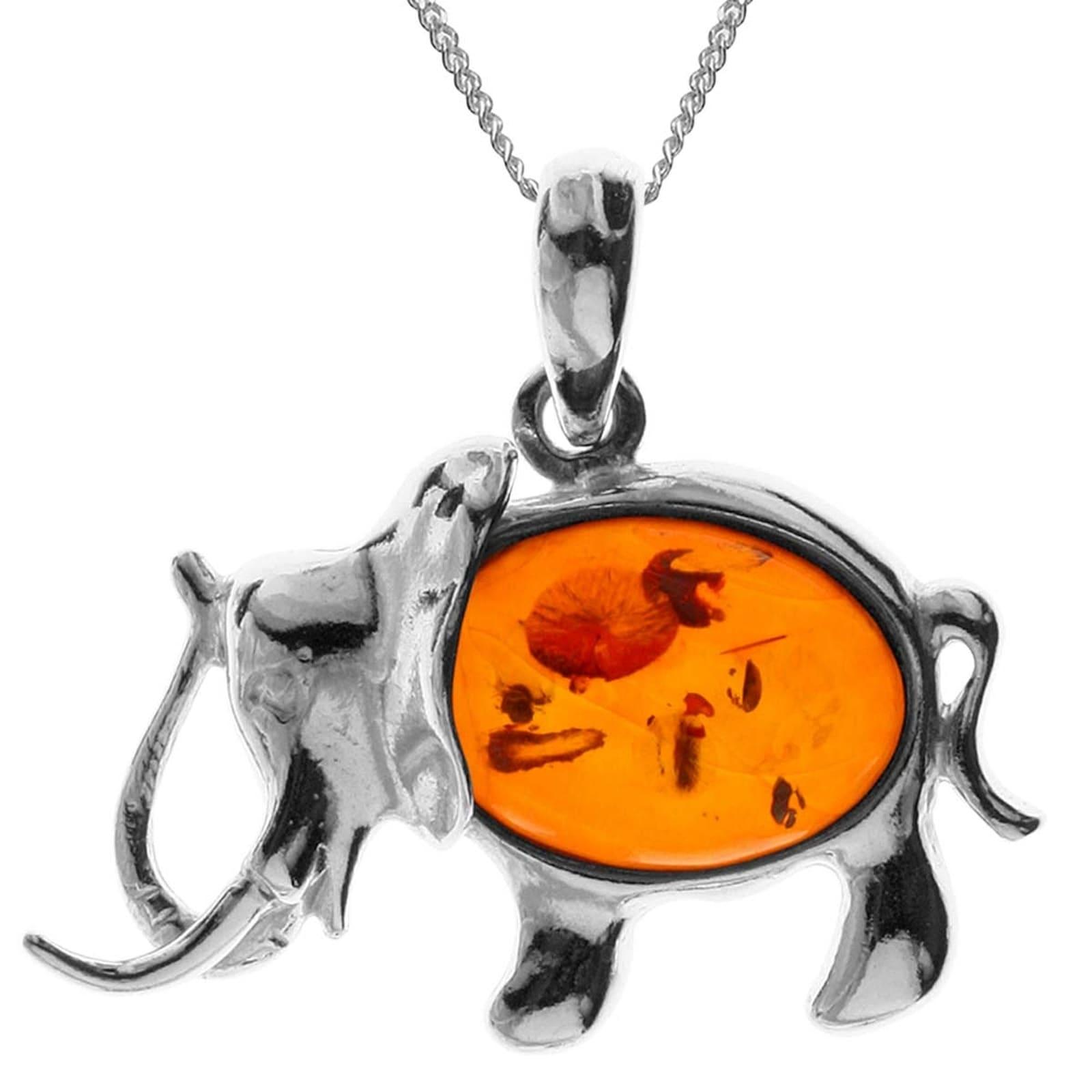OSTSEE-SCHMUCK Kette mit Anhänger Elefant Silber 925/000 Bernstein | Schmuck > Halsketten > Silberketten | Ostsee-Schmuck