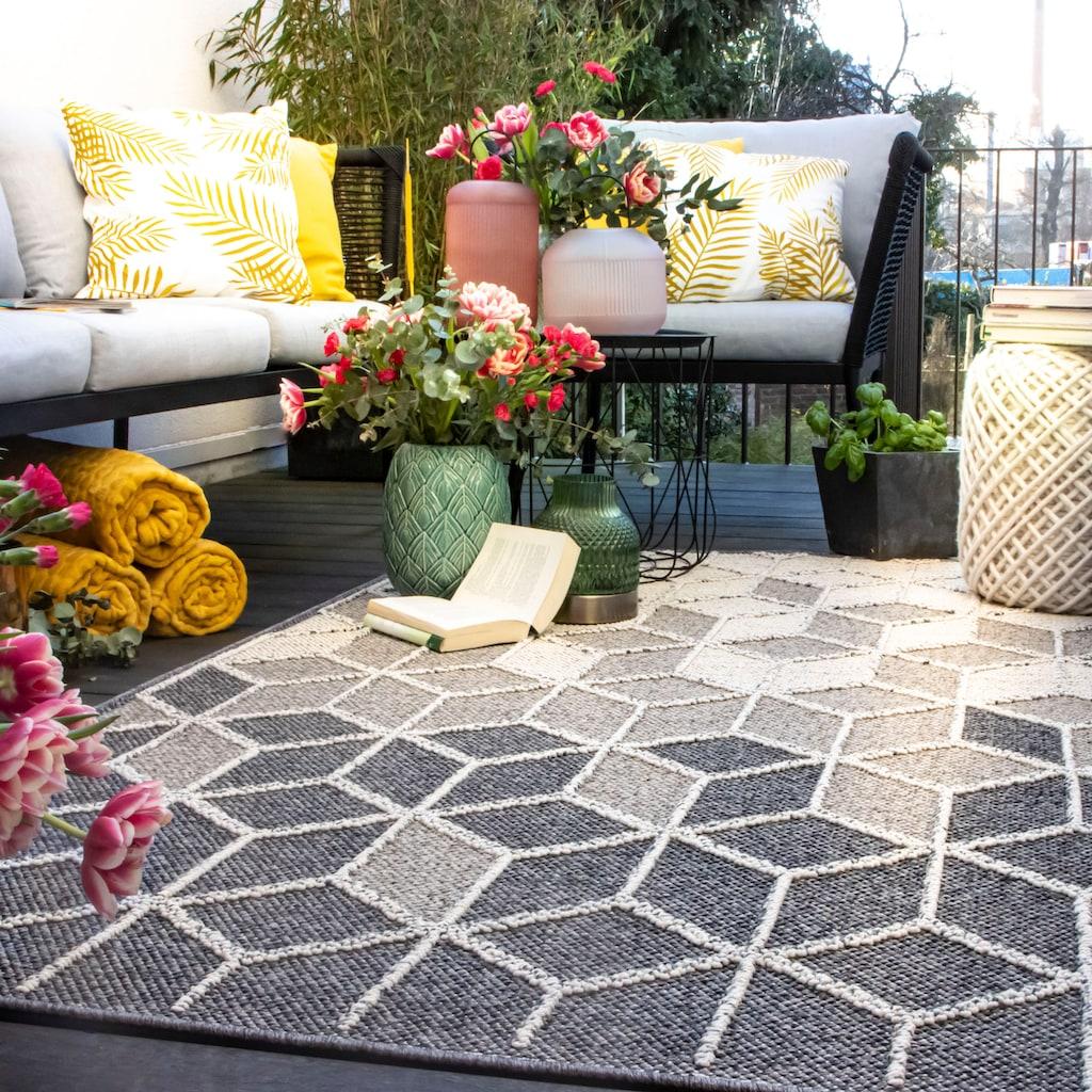 Obsession Teppich »My Sherpa 370«, rechteckig, 8 mm Höhe, Hoch-Tief-Struktur, geometrisches Design, meliertes Garn, In- und Outdoor geeignet, Wohnzimmer