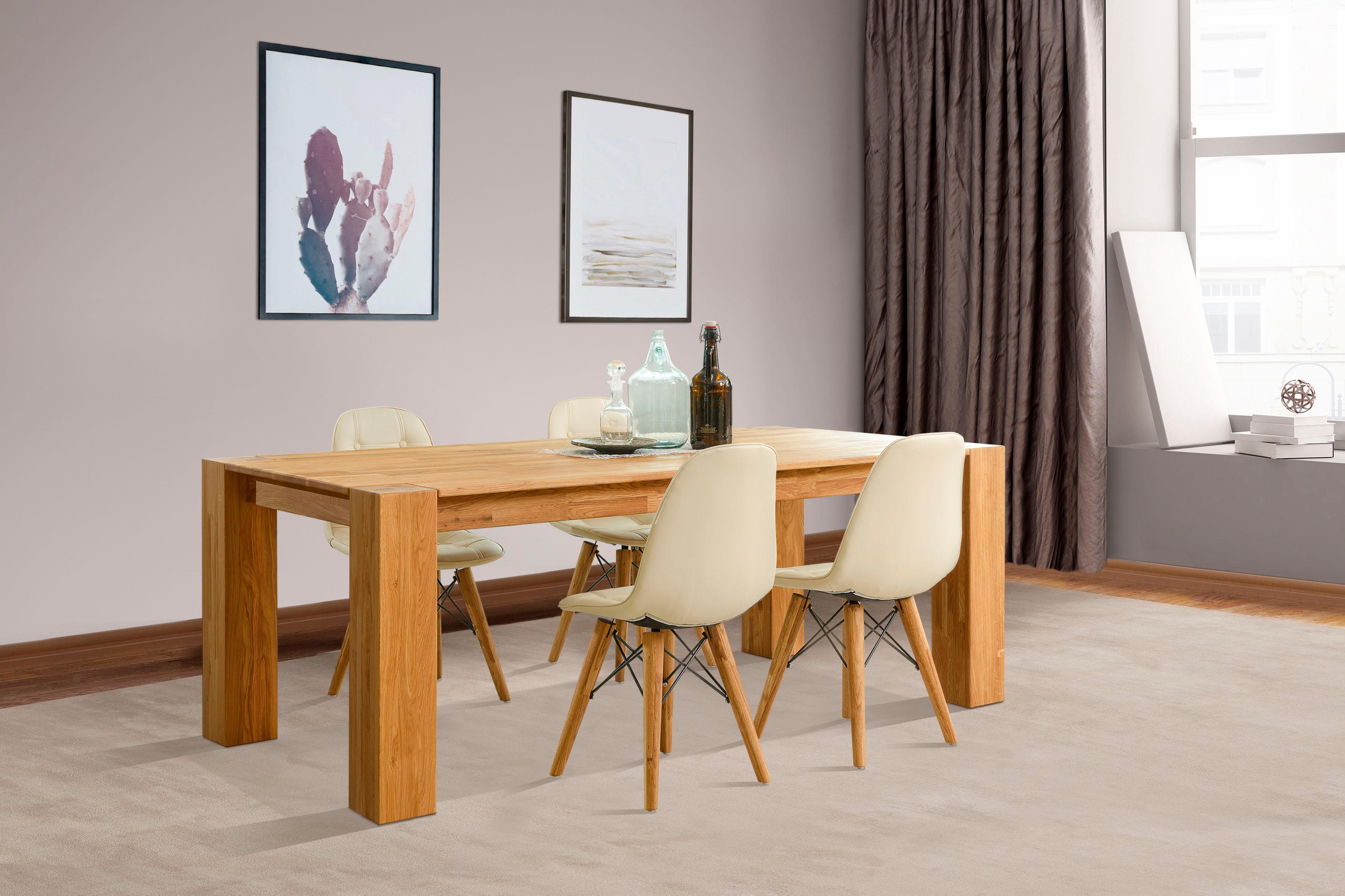 Home affaire Essgruppenset Juna bestehend aus 4 Stühlen und einem Esstisch Esstischgröße 200 cm (5-tlg)