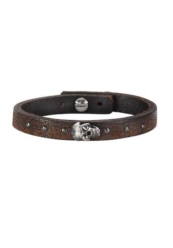 NOX Armband »Leder braun Edelstahl«, Motiv Totenkopf kaufen