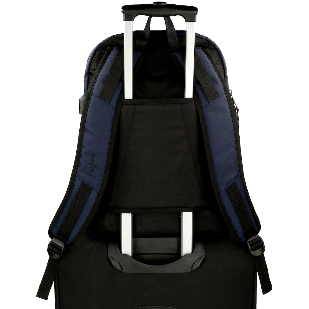 Pepe Jeans Laptoprucksack »Split, blau«, mit USB-Anschluss und Kopfhörerausgang
