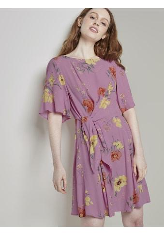 TOM TAILOR Denim Minikleid »Kurzes Kleid mit Knoten-Detail im floralen Muster« kaufen