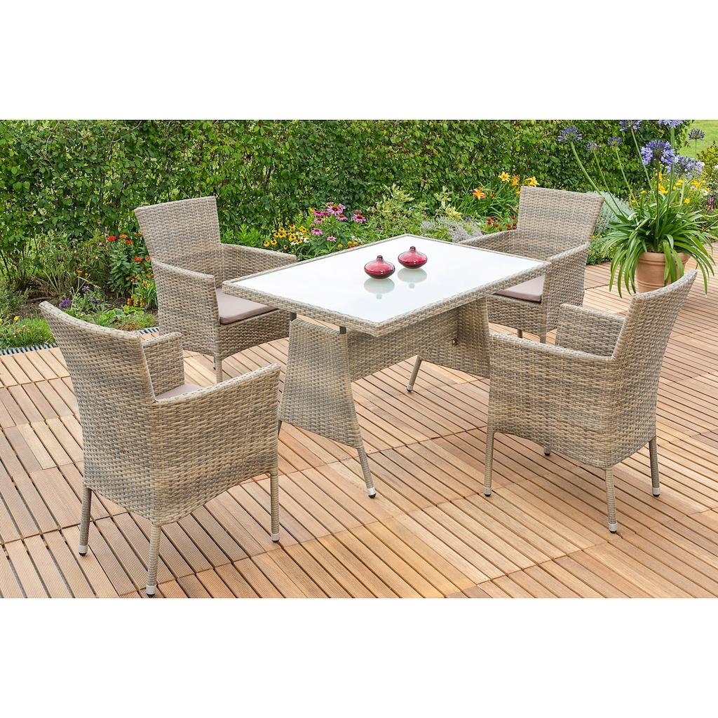 MERXX Gartenmöbelset »Trentino«, (5 tlg.), 4 Stapelsessel mit Tisch