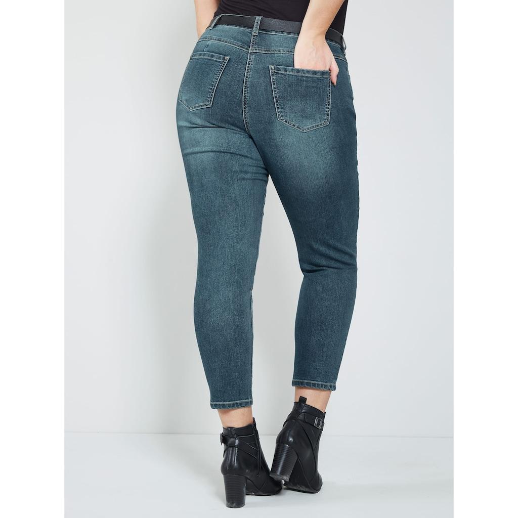 Sara Lindholm Jeans mit Strasssteinen