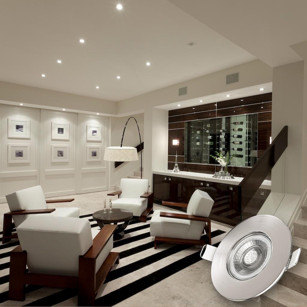 B.K.Licht LED Einbauleuchte, LED-Board, Warmweiß, LED Einbauspots dimmbar Badlampe IP44 Einbauleuchte inkl. 5W Spot Strahler flach 6er SET