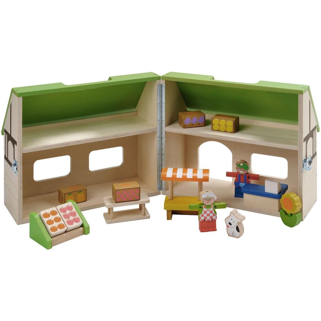 EverEarth® Puppenhaus »Bio-Laden Mitnehm-Puppenhaus«, aufklappbar, FSC®-Holz aus gewissenhaft bewirtschafteten Wäldern