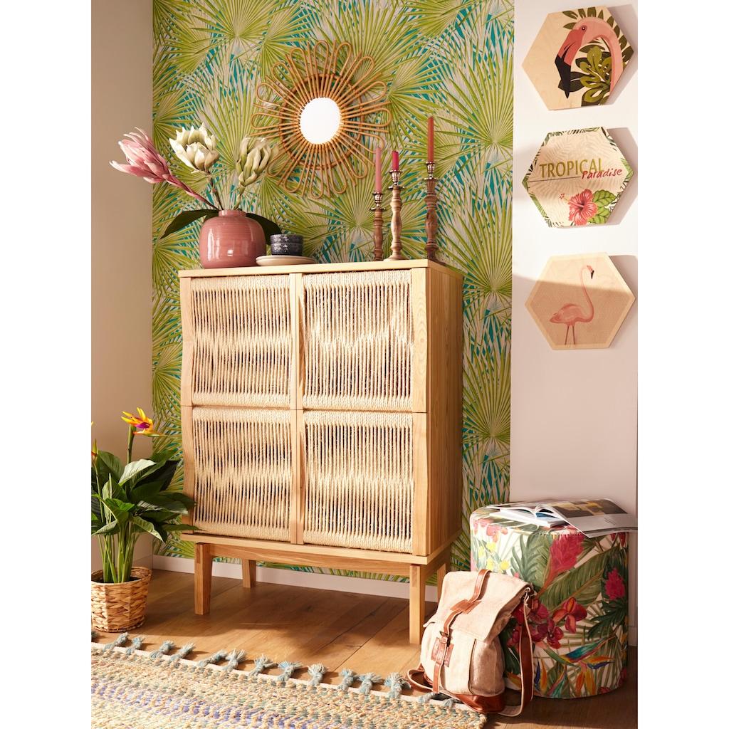 Woodman Highboard »Lidia«, mit Türenfronten aus geflochtenem nartürlichem Hanfseil, Breite 90 cm