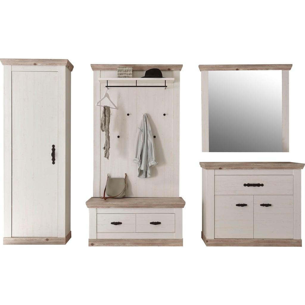 Home affaire Garderoben-Set »Florenz«, (5 St., 6 tlg. mit Kissen), bestehend aus 1 Bank, 1 Paneel, 1 Spiegel und 1 Kommode und Garderobenschrank