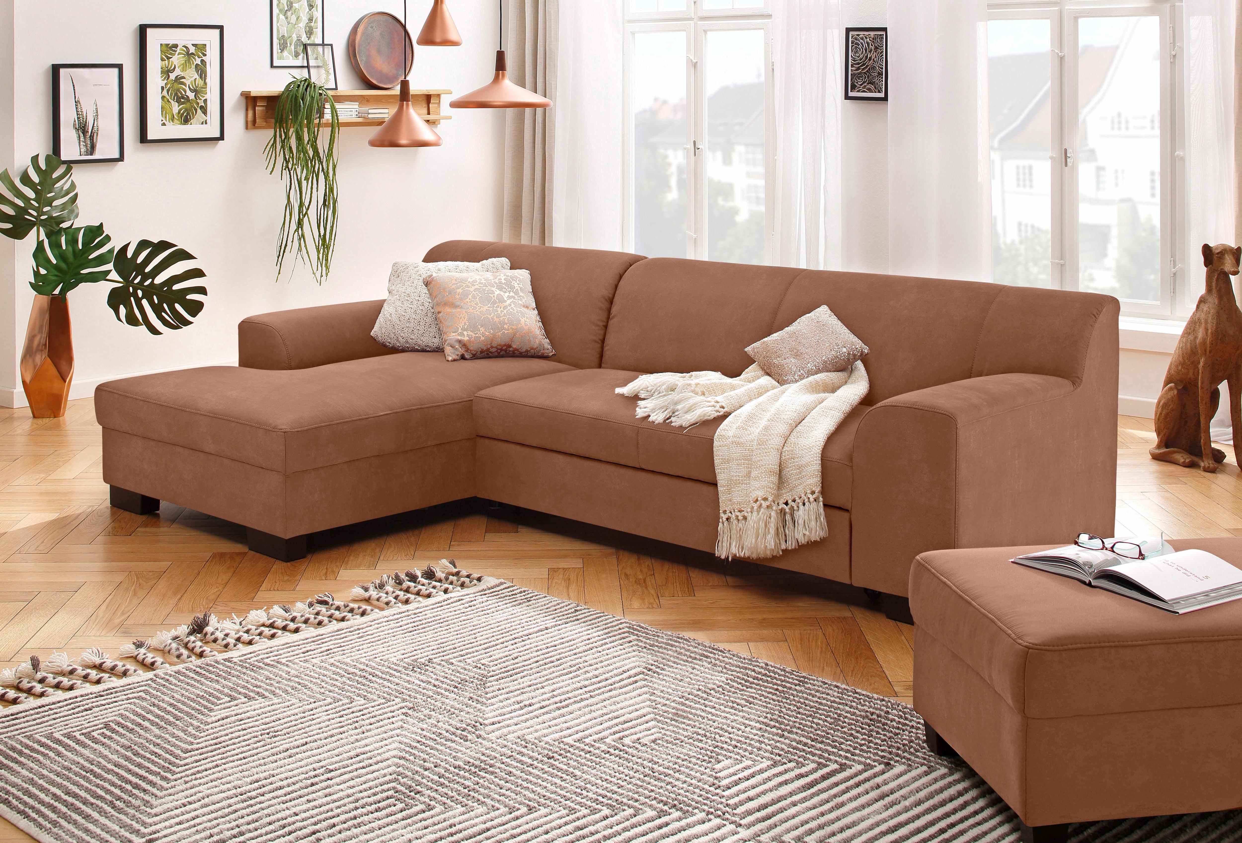 Home affaire Ecksofa »Wanda«, wahlweise mit Bettfunktion in 4 Bezugsarten   Wohnzimmer > Sofas & Couches > Ecksofas & Eckcouches   Microfaser - Chenille - Stoff   HOME AFFAIRE