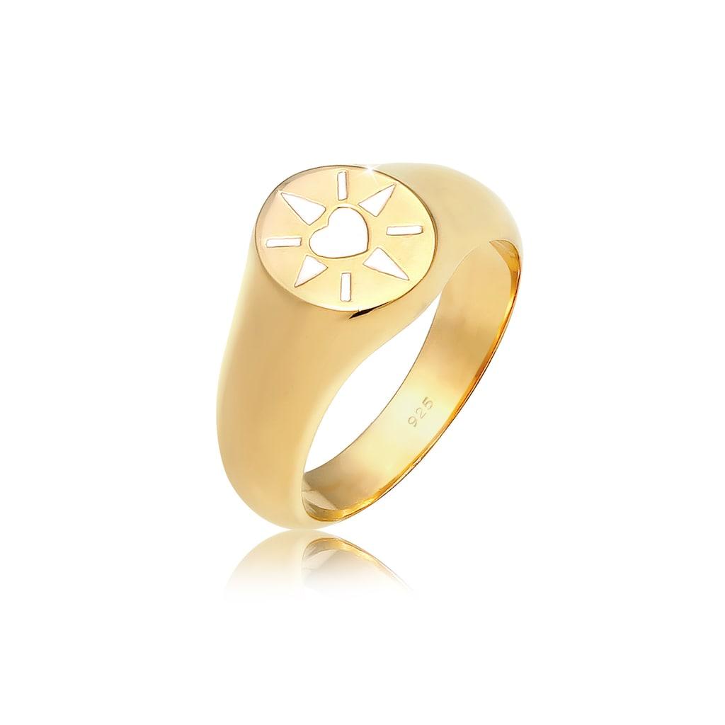 Elli Siegelring »Siegelring Herz Emaille 925er Silber«