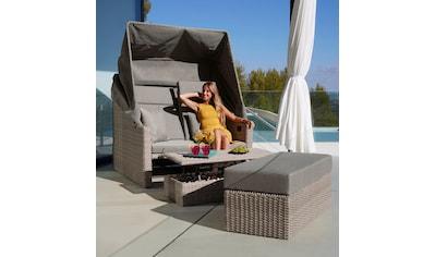 MERXX Loungebett »Rimini«, Polyrattan, braun, inkl. Auflagen kaufen