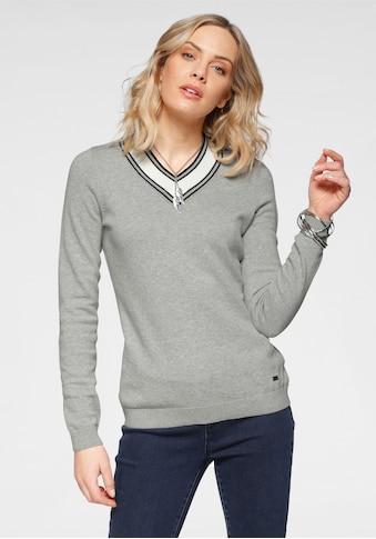 Arizona V-Ausschnitt-Pullover, Mit Kontrast-Besatz - NEUE KOLLEKTION kaufen