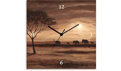 Artland Wanduhr »Afrikanische braune Landschaft Elefanten« kaufen