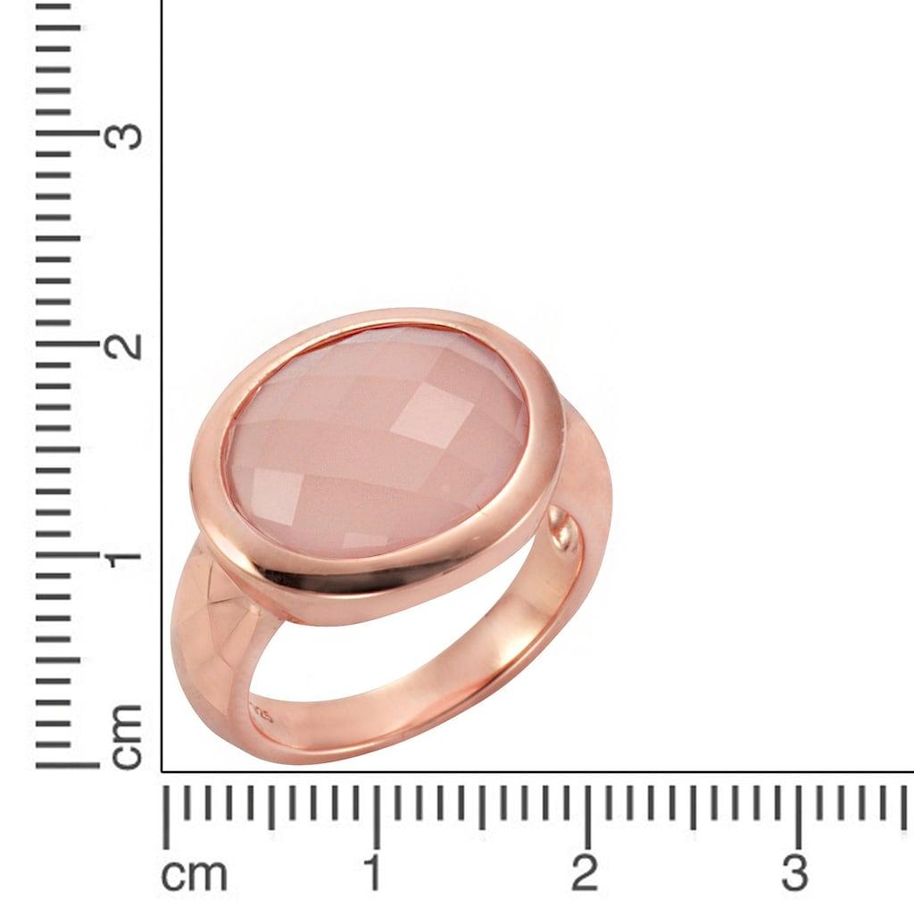 Jamelli Fingerring »925/- Sterling Silber rosévergoldet mit Chalcedon«, Ring