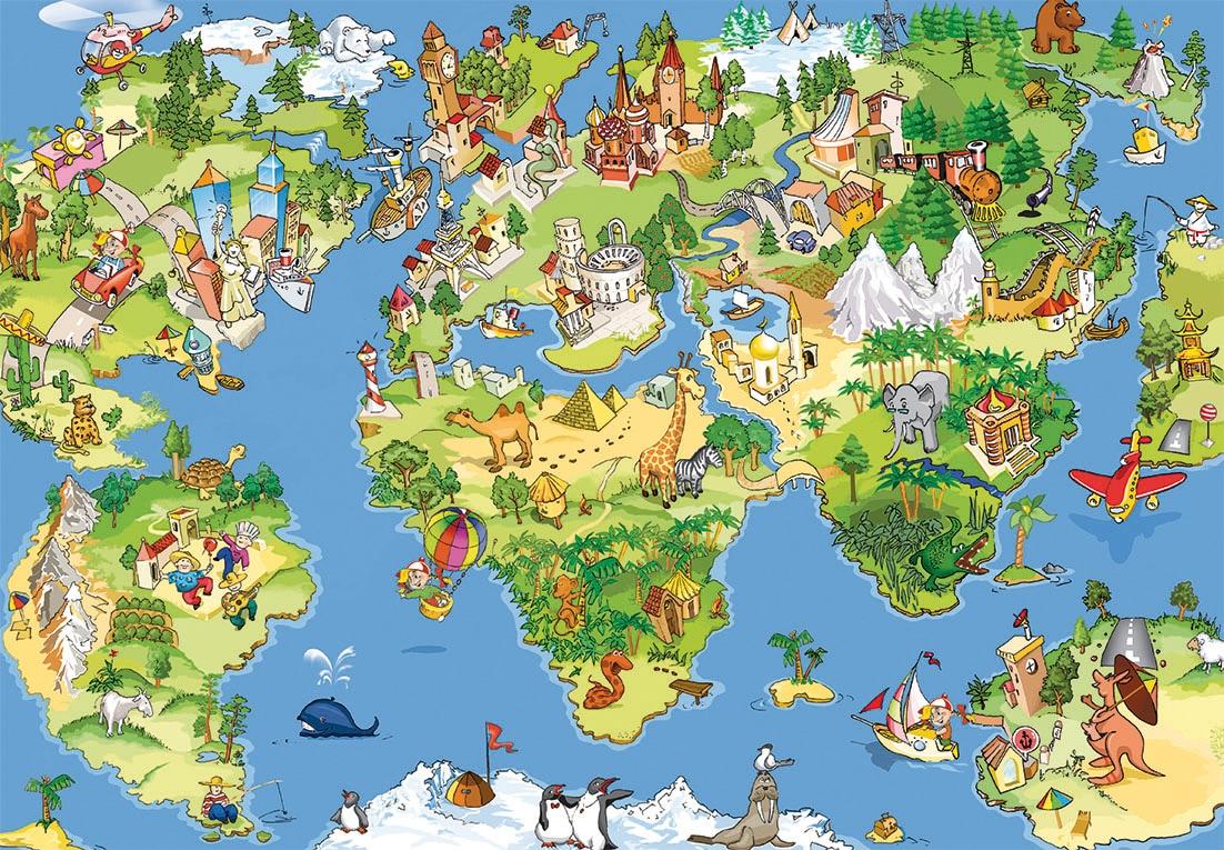 PAPERMOON Fototapete »Kids World Map«, Vlies, 5 Bahnen, 250 x 180 cm auf  Rechnung   BAUR