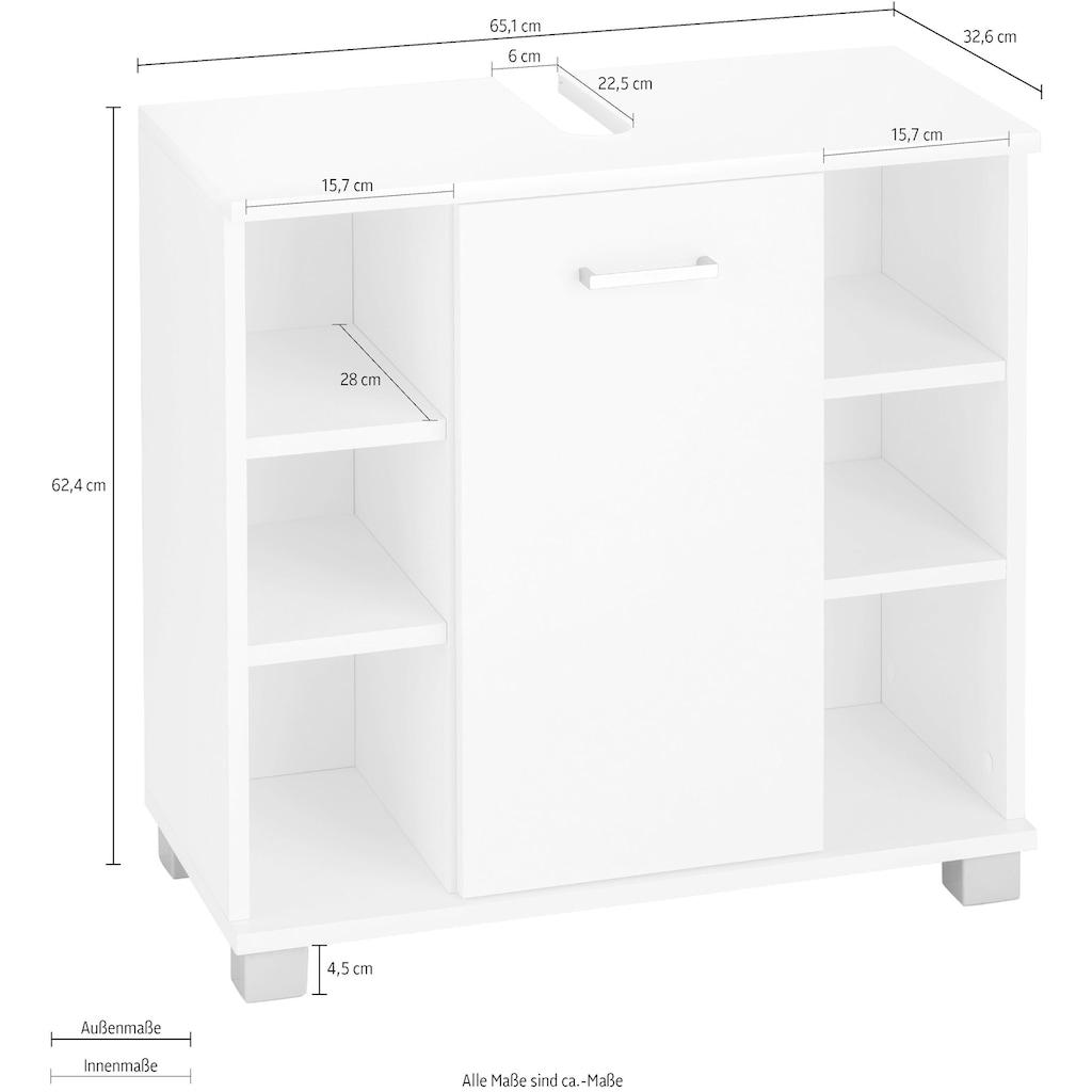 Schildmeyer Waschbeckenunterschrank »Mobes«, Breite/Höhe: 65,1/62,4 cm, Badschrank mit Tür und praktischen Regalfächern, Aussparung für Abwasserleitung