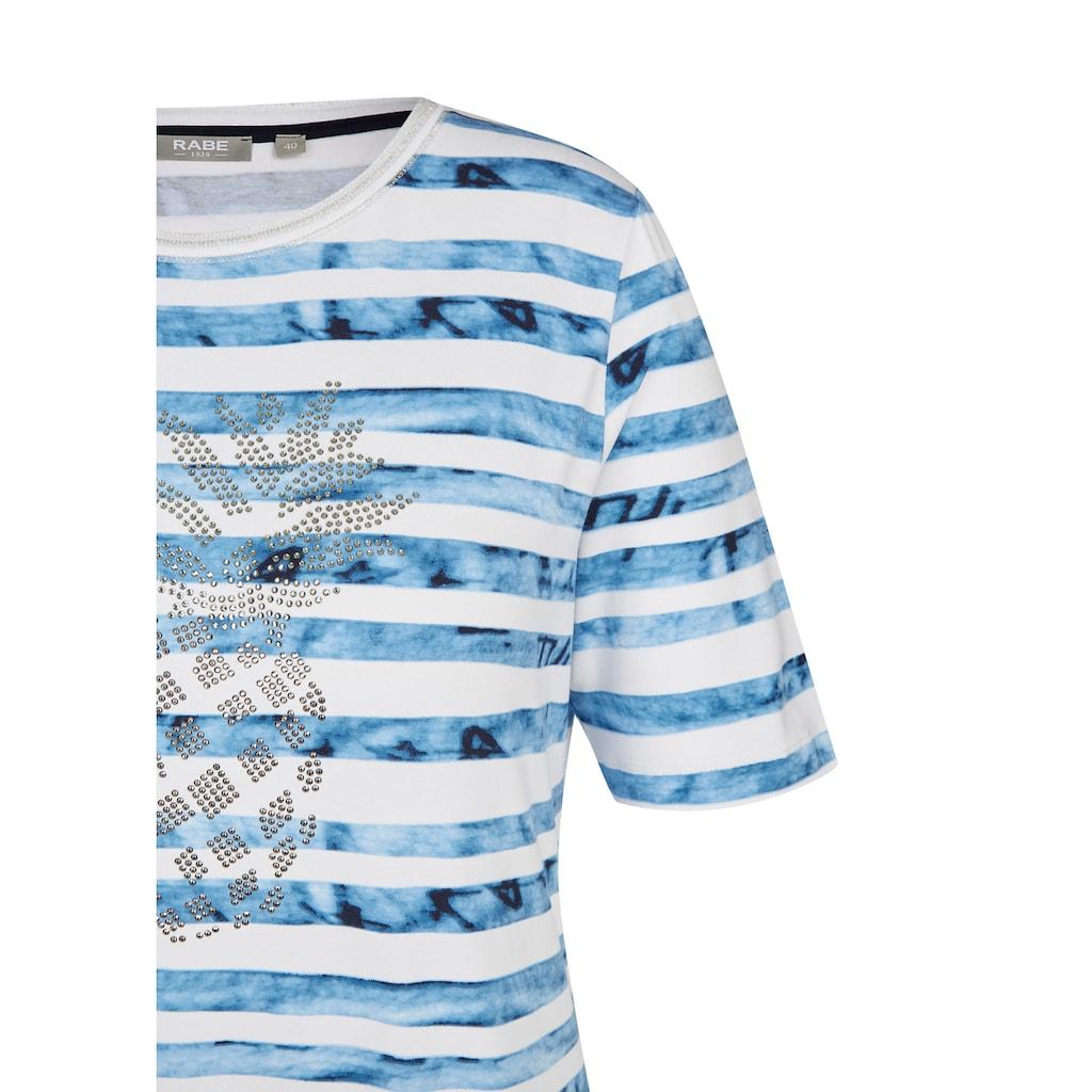 Rabe Rundhalsshirt, mit geringeltem Muster und Tunnelzug