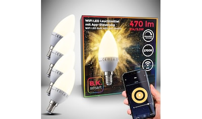 B.K.Licht LED-Leuchtmittel, E14, 4 St., Warmweiß, Smart Home LED-Lampe RGB WiFi... kaufen