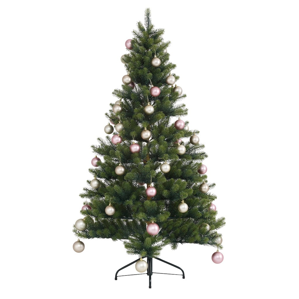 Künstlicher Weihnachtsbaum »Fertig geschmückt«, mit 60 Kugeln und LED Beleuchtung