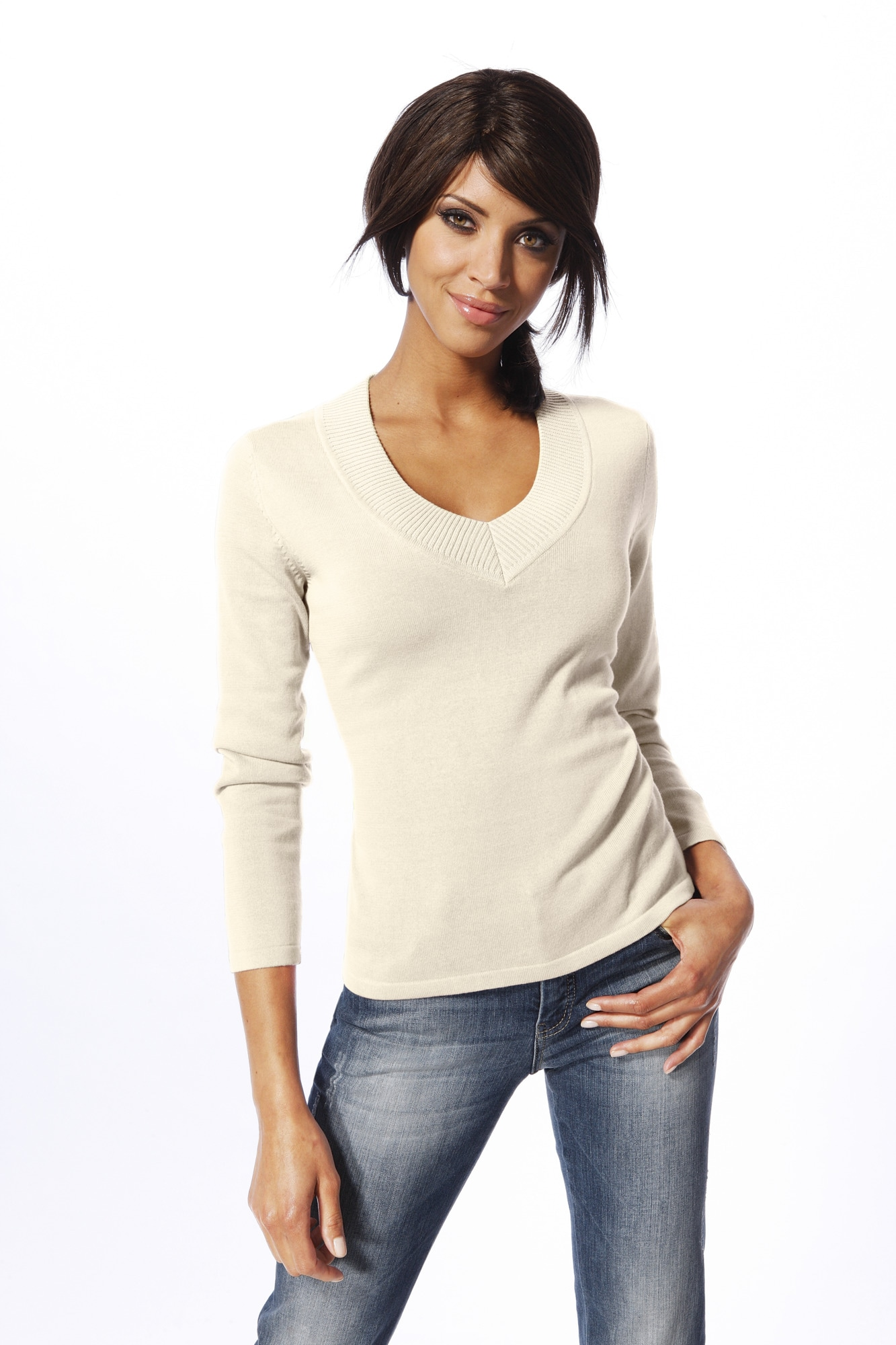 heine CASUAL V-Pullover in taillierter Form | Bekleidung > Pullover > V-Pullover | Weiß | heine