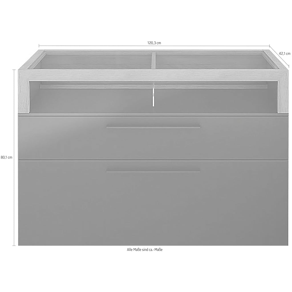 GALLERY M Lowboard »Arrive 73161«, Breite 120,3 cm, mit 2 Schubladen und einem Aufsatz mit 2 offenen Fächern, Höhe 80 cm