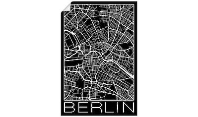 Artland Wandbild »Retro Karte Berlin Deutschland Schwarz«, Deutschland, (1 St.), in vielen Größen & Produktarten - Alubild / Outdoorbild für den Außenbereich, Leinwandbild, Poster, Wandaufkleber / Wandtattoo auch für Badezimmer geeignet kaufen
